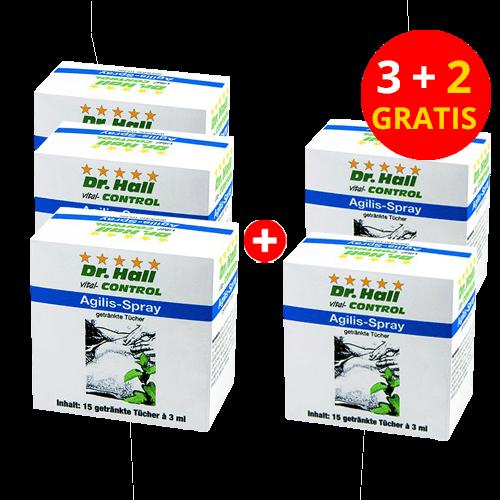 Agilis-Spray, 3 x 15 getränkte Tücher + 2 x 15 gratis