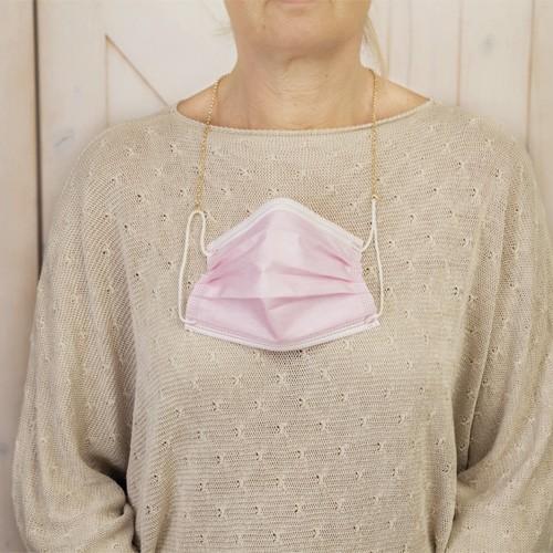 Goldene Halskette für Hygiene-Maske im Organza-Beutel