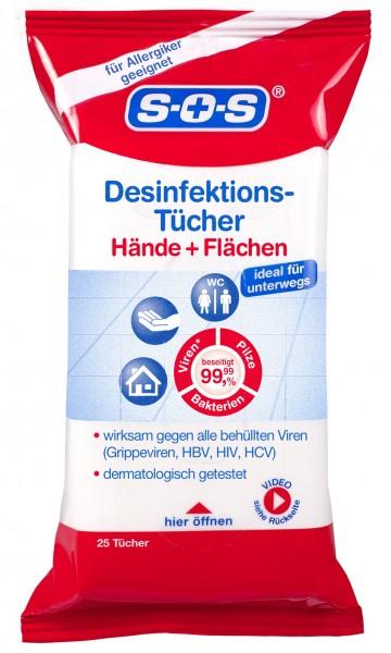 SOS Desinfektionstücher, 25 Tücher