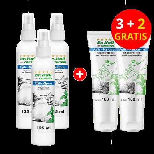 Agilis-Spray, 3 x 125 ml + Agilis-Handcreme, 2 x 100 ml gratis