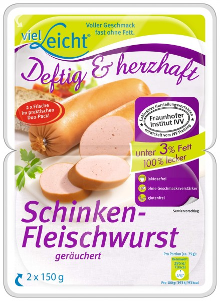 Schinken-Fleischwurst geräuchert, 2 x 150 g