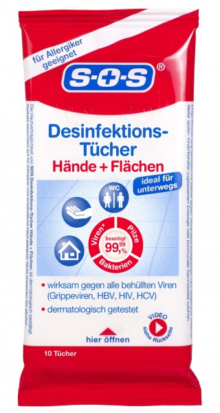 SOS Desinfektionstücher, 10 Stück
