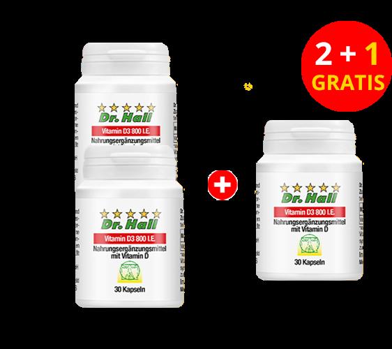Vitamin D3 800 I.E. 2 x 30 Kapseln + 1 x 30 Kapseln gratis